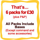 all packs include bases with the exception of command and some accessory pack