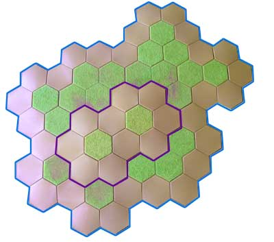 hills made with Hexon boards, single hexes and slopes