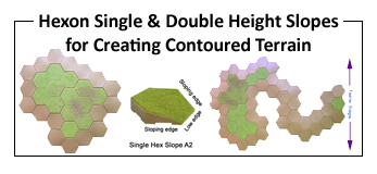Slope Hexes - single and double height to create your own terrain features